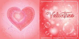 Doppia carta di apertura per il San Valentino illustrazione vettoriale