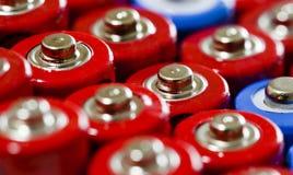 Doppia cima del colpo di batterie AA giù Fotografia Stock
