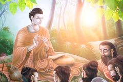 doppia esposizione del fiore di loto o la ninfea ed il fronte della statua di Buddha fotografia stock libera da diritti