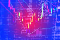 Doppia esposizione del grafico del grafico del bastone della candela con l'indicatore con il fondo di schermo di corso di borsa,  fotografia stock libera da diritti