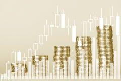 Doppia esposizione del grafico e file delle monete per finanza e il busin Fotografie Stock