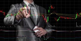 Doppia esposizione dell'uomo d'affari con il grafico del mercato azionario Fotografie Stock Libere da Diritti