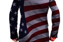Doppia esposizione dell'uomo d'affari con la bandiera dell'America come bus americano Immagini Stock