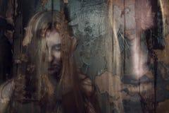 Doppia esposizione della ragazza del fantasma Fotografie Stock Libere da Diritti