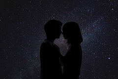 Doppia esposizione delle coppie romantiche adorabili Fotografia Stock Libera da Diritti