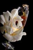 Doppia esposizione di bicchiere di vino sopra fresia bianca Immagini Stock