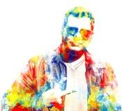 Doppia esposizione di un uomo in vetri che mostrano un segno di pace multicolored illustrazione vettoriale