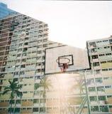 Doppia esposizione nella proprietà di Hong Kong Housing Fotografia Stock