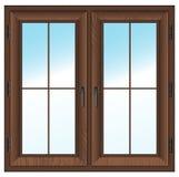 Doppia finestra chiusa di legno. Illustrazione di vettore. Fotografia Stock Libera da Diritti