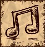 Doppia nota di musica su fondo d'annata Fotografia Stock Libera da Diritti