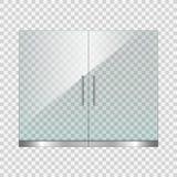 Doppia porta di vetro trasparente su fondo semplice Immagine Stock