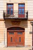 Doppia porta e balcone Fotografie Stock