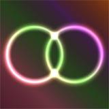 Doppio anello di neon Fotografie Stock