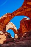 Doppio arco in arché parco nazionale, Utah, U.S.A. Fotografia Stock Libera da Diritti