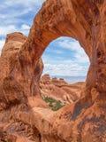 Doppio arco della O, arché parco nazionale, Utah, U.S.A. Fotografia Stock Libera da Diritti