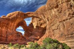 Doppio arco nel parco nazionale di arché Fotografie Stock Libere da Diritti