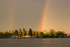 Doppio arcobaleno alla baia di Amsterdam Immagine Stock Libera da Diritti