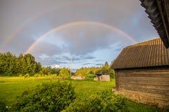 Doppio arcobaleno, tempo magico Fotografia Stock