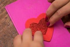 Doppio biglietto di S. Valentino del cuore Fotografia Stock