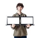 Doppio computer portatile Fotografie Stock
