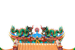 Doppio drago sul tetto cinese del tempiale Fotografia Stock Libera da Diritti