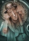 Giocatore di contrabbasso acustico - jazz classico Fotografie Stock