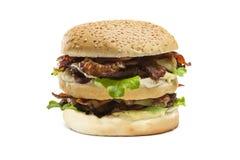 Doppio hamburger isolato fotografia stock libera da diritti