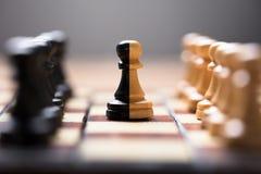 Doppio pegno di colore in mezzo di altri pezzi degli scacchi a bordo immagini stock