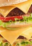 Doppio primo piano saporito del cheeseburger Fotografie Stock Libere da Diritti
