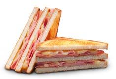 Doppio sandwich di panini del formaggio e del prosciutto Immagine Stock