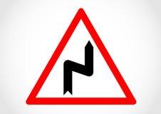 Doppio segnale stradale di informazioni di direzione della curvatura Fotografia Stock Libera da Diritti