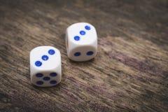 Doppio tre di numero di due dadi del gioco Fotografia Stock Libera da Diritti