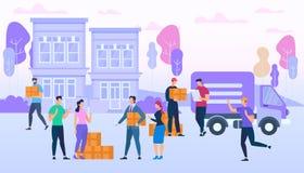 Doręczeniowej usługi pracownicy Przynoszą Wiele pudełka Van ilustracja wektor