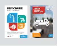 Doręczeniowa ciężarówka z pakunkami za broszurki ulotki projekta szablonem Obrazy Royalty Free