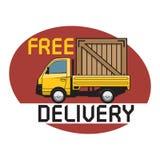 Doręczeniowa ciężarówka z tekstem uwalnia dostawę ilustracji