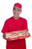 doręczeniowa faceta pizzy czerwień Zdjęcia Stock