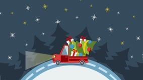 Doręczeniowa mieszkanie transportu ciężarówka, samochód dostawczy z prezenta pudełka paczką na bielu w xmas wigilii ilustracji