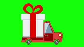 Doręczeniowa mieszkanie transportu ciężarówka, samochód dostawczy z prezenta pudełka paczką na zieleń ekranie royalty ilustracja