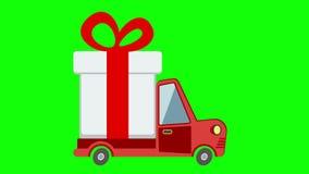 Doręczeniowa mieszkanie transportu ciężarówka, samochód dostawczy z prezenta pudełka paczką na zieleń ekranie ilustracja wektor