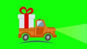 Doręczeniowa mieszkanie transportu ciężarówka, samochód dostawczy z prezenta pudełkiem ilustracja wektor