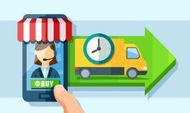 Doręczeniowa usługa przez nowożytnej mobilnej technologii ilustracja wektor