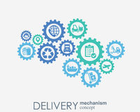 Doręczeniowego mechanizmu pojęcie Abstrakcjonistyczny tło z związanymi przekładniami i ikonami dla logistycznie usługowymi, strat Obraz Stock
