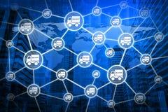 Doręczeniowej ciężarówki ikona z związek linią nad mapy i miasta backg Zdjęcie Royalty Free