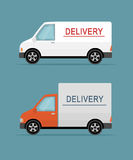 Doręczeniowi samochody dostawczy na błękitnym tle Zdjęcie Stock