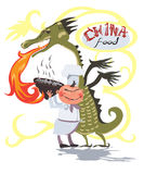 Doręczeniowy Chiński jedzenie Wektorowy logo z furą Zdjęcie Stock