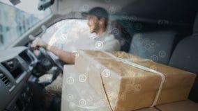 doręczeniowy mężczyzna w samochodzie dostawczym z interfejs narzutą zbiory wideo