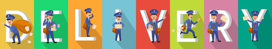 DORĘCZENIOWY obrazek Ustawiający z Mailman charakterami ilustracji