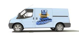 Doręczeniowy samochód dostawczy, bezpłatna wysyłka Zdjęcie Royalty Free