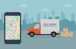 Doręczeniowy samochód dostawczy i telefon komórkowy z mapą na miasta tle Zdjęcia Stock