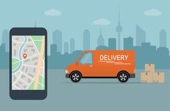 Doręczeniowy samochód dostawczy i telefon komórkowy z mapą na miasta tle Obraz Stock
